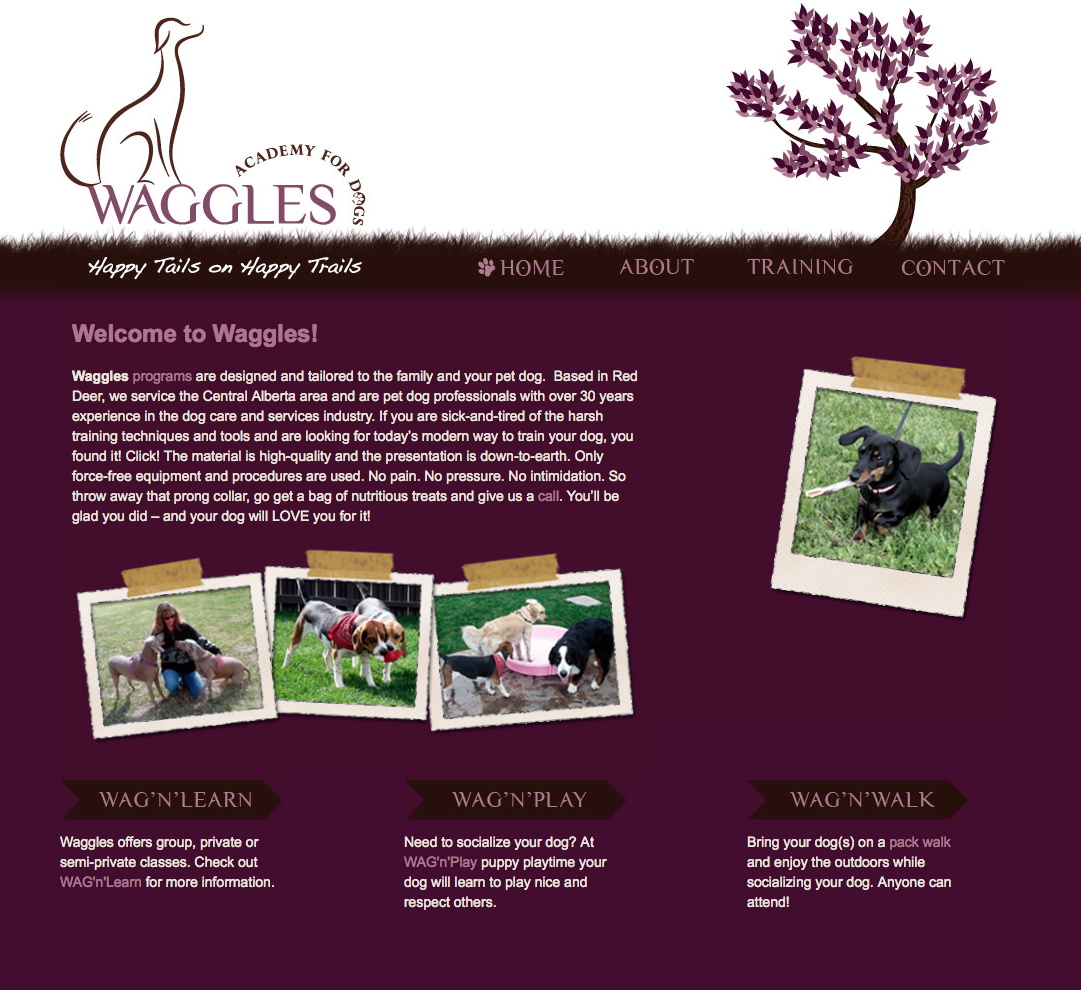 Waggles website design